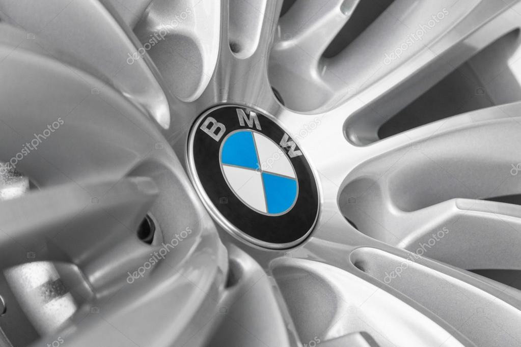 BMW logotype on light alloy new design car wheel