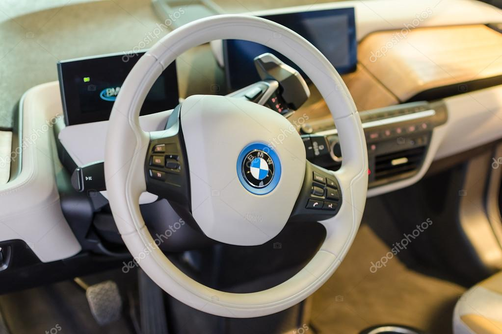 white interior of eco friendly full time electric car bmw i3 stock editorial photo servickuz. Black Bedroom Furniture Sets. Home Design Ideas