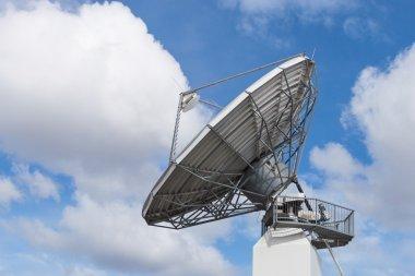 Big radar parabolic radio antenna global information data stream