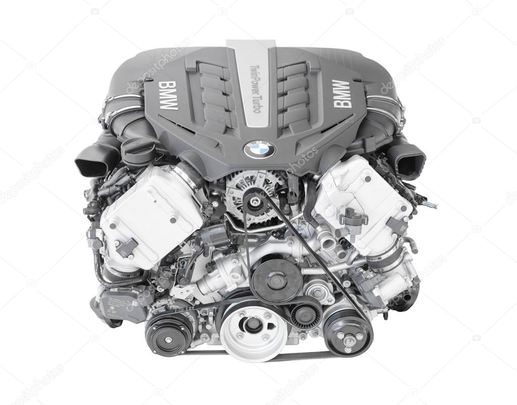 Isolated BMW TwinPower turbo V8-cylinder top-of-the-range petrol engine
