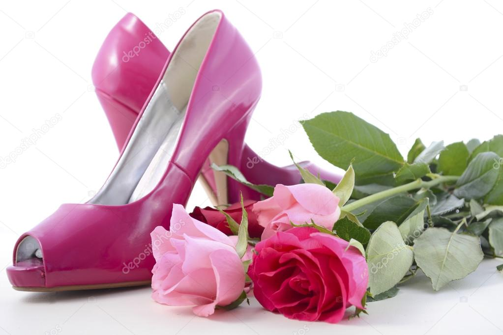 Pink High Heel Shoes With Roses Stock Photo Amarosy 100270338