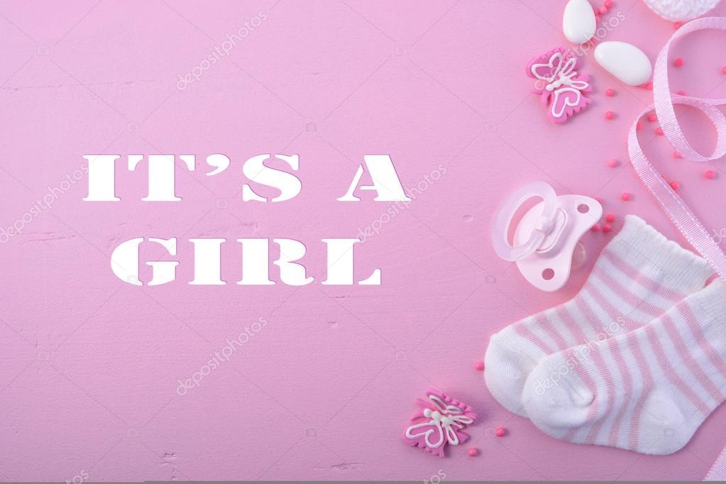 Attractive Pink Baby Shower Nursery Background U2014 Stock Photo