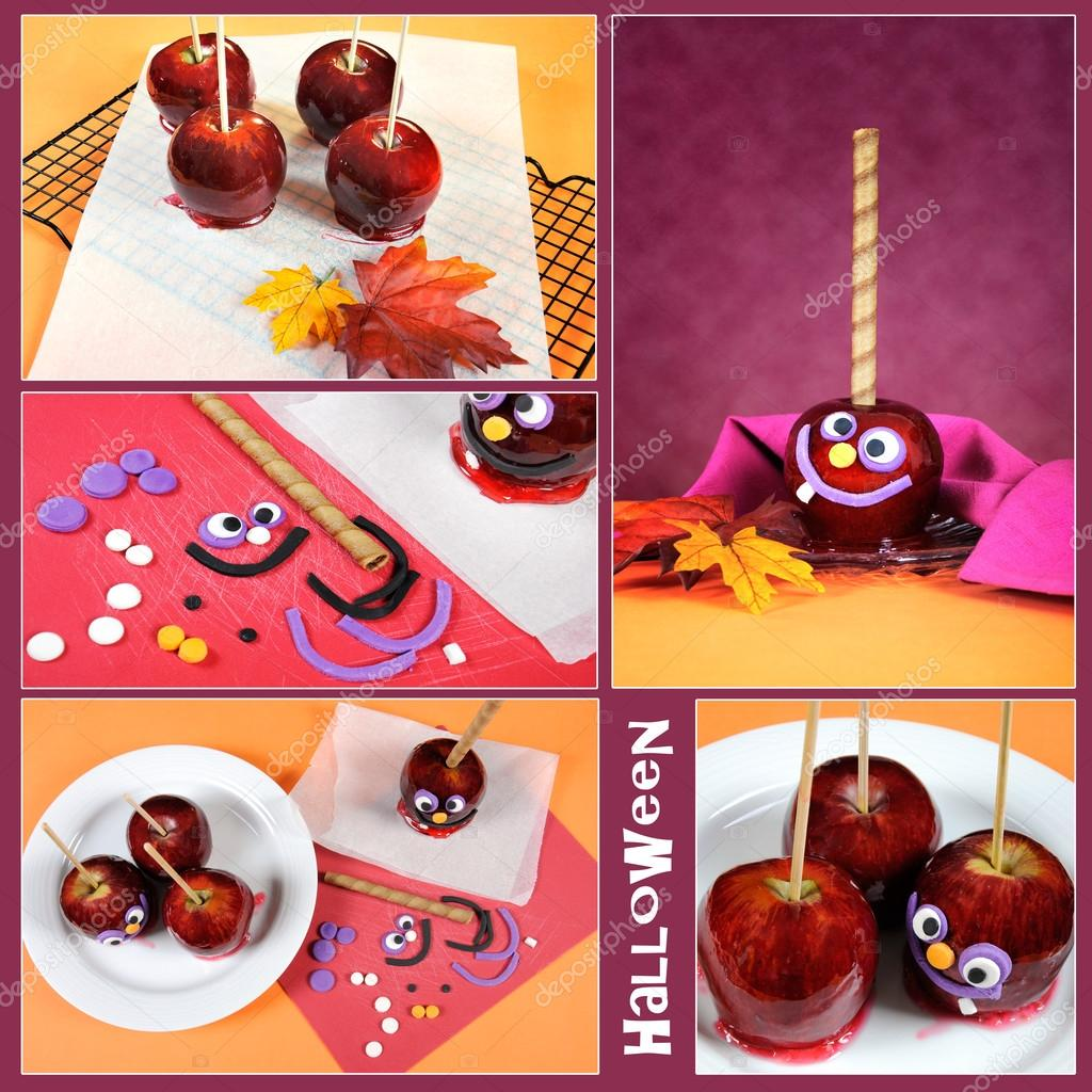 Halloween toffee caramel candy apples collage
