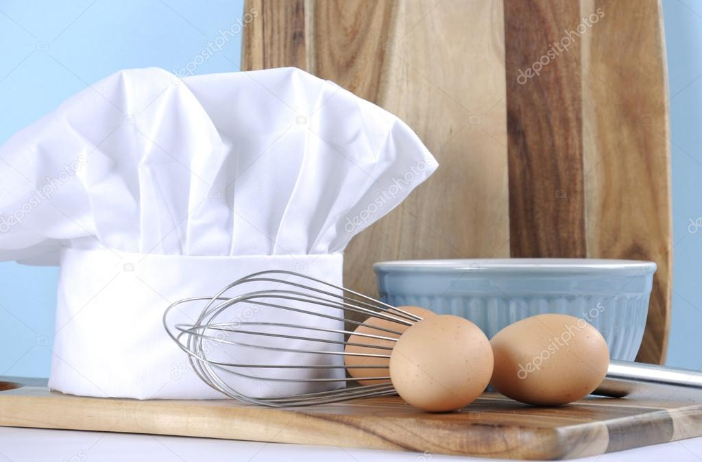 Moderne Cuisine Bleue Et Blanche Avec Chapeau De Nos Chefs Et