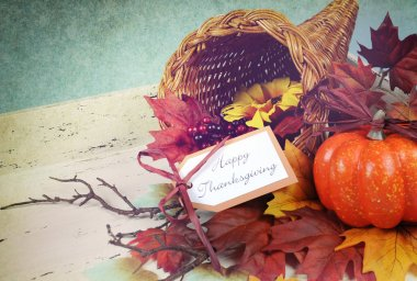 Happy Thanksgiving Cornucopia on Vintage White and blue background