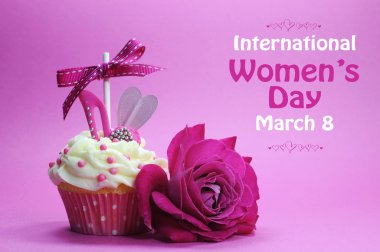 International Womens Day greeting with pink rose