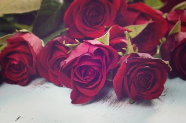 Vintage red roses gift for Valentines Day, birthday or special o