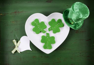 St Patricks Day shamrock shape green fondant cookies