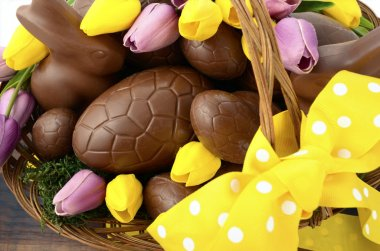 Happy Easter chocolate bunnies and eggs in hamper basket.
