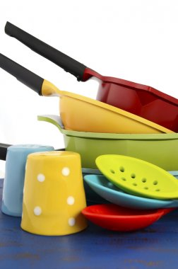 Bright Colorful Kitchen Pots and Pans