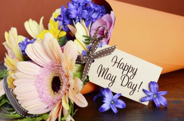 Happy May Day traditional gift of Spring Flowers.