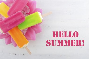 Summer is Here concept with bright color ice creams