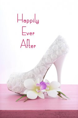 Wedding Theme, Happily Ever After, White High Heel Shoe.