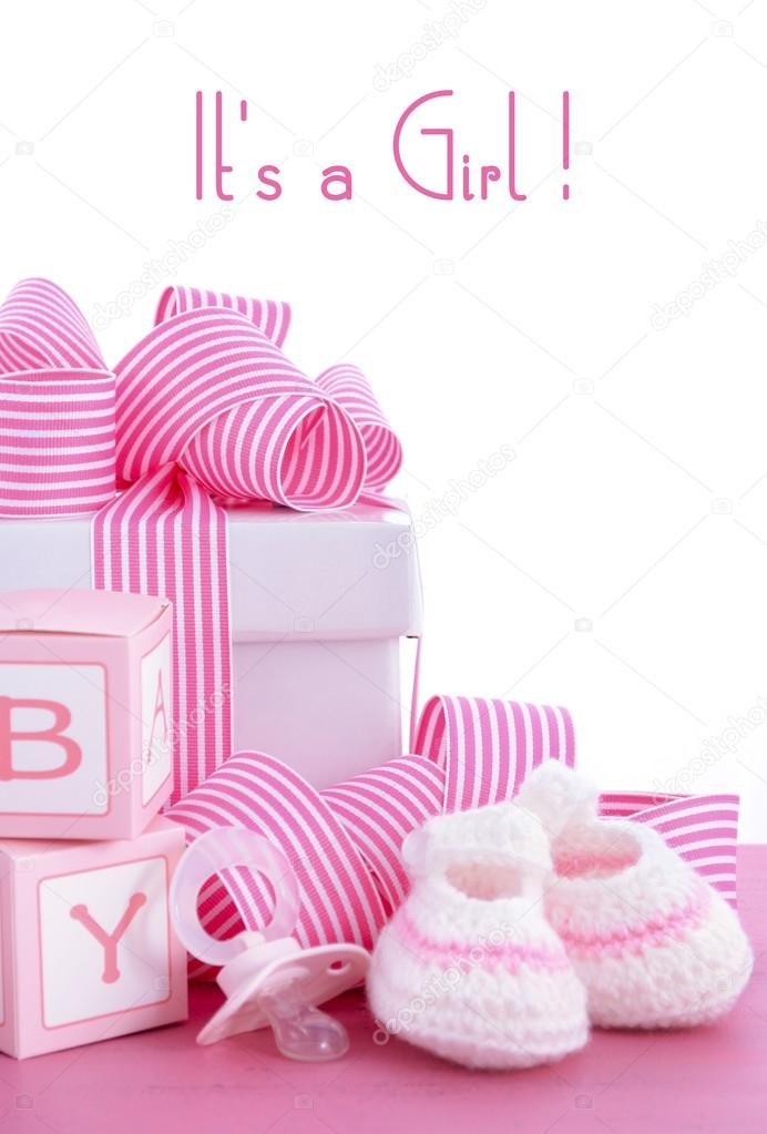 Baby Shower Its A Girl Pink Gift With Baby Booties, Dummy And Gift Box On  Pink Shabby Chic Wood Table. U2014 Photo By Amarosy