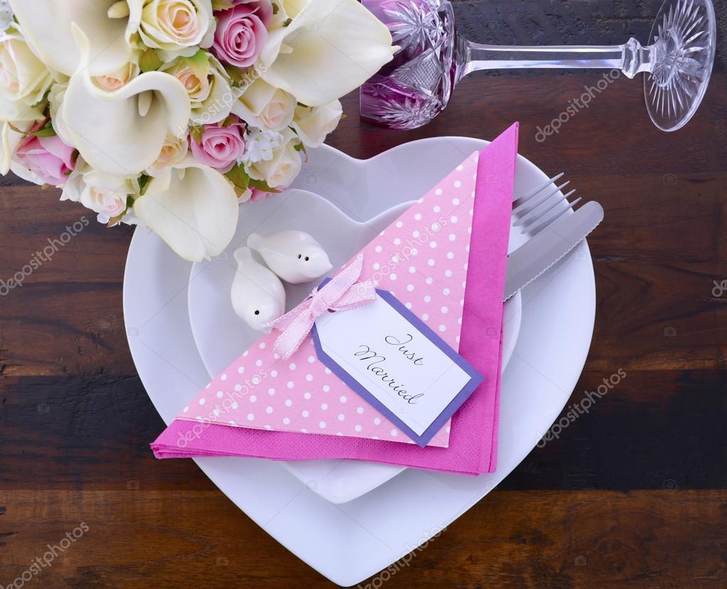 Pink Theme Wedding Table Setting on Dark Wood Background. — Stock ...