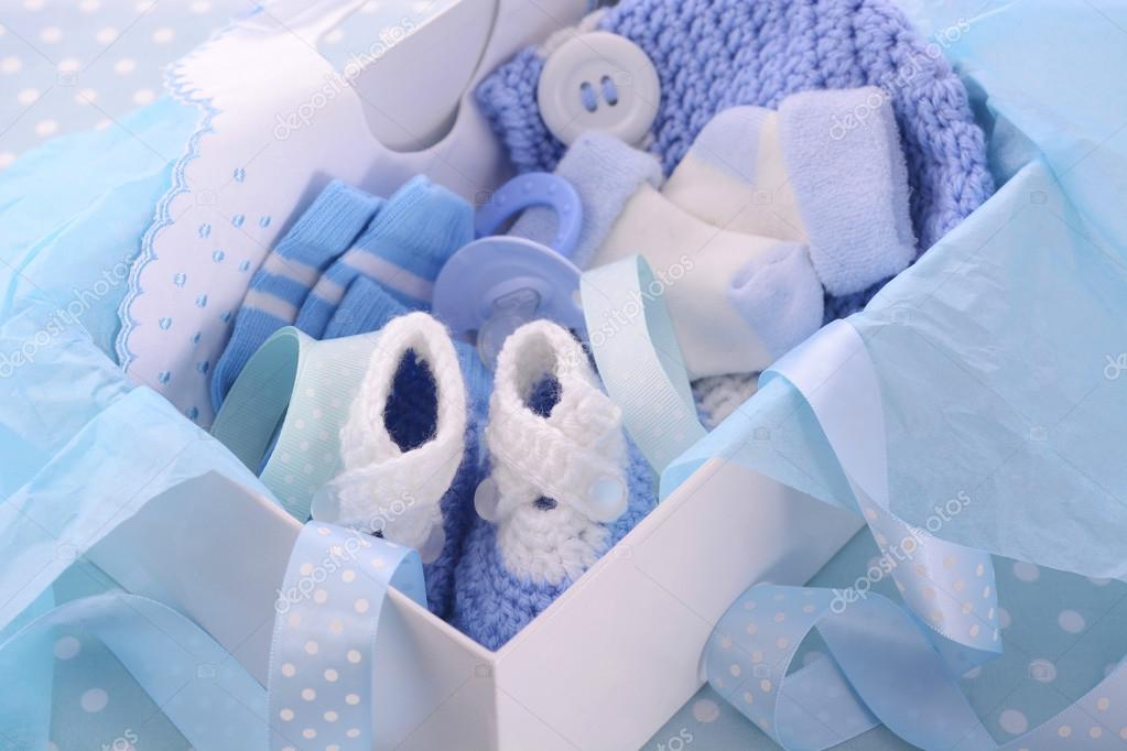 its a boy blue baby shower gift box stock photo amarosy 78787934. Black Bedroom Furniture Sets. Home Design Ideas
