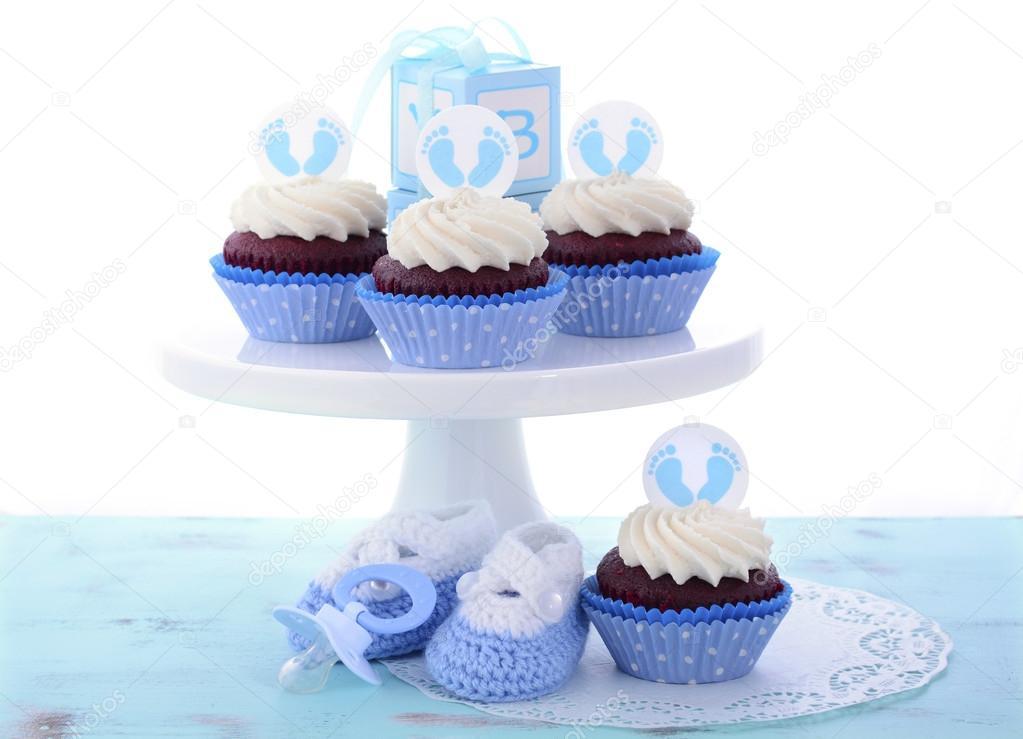 Sein Ein Junge Blaue Babyparty Kuchen Stockfoto C Amarosy 78798146