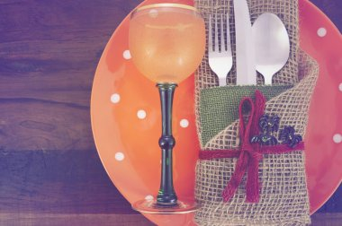 Rustic Halloween Table Place Setting.