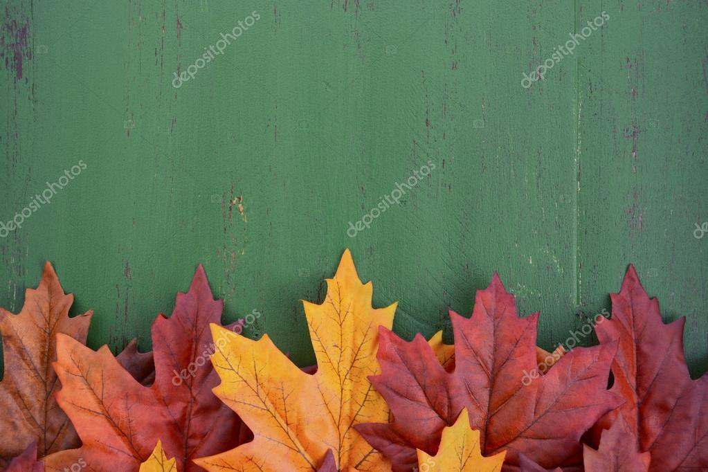 Autumn Fall Rustic Background On Green Vintage Distressed Wood With Leaves And Decorations Photo By Amarosy