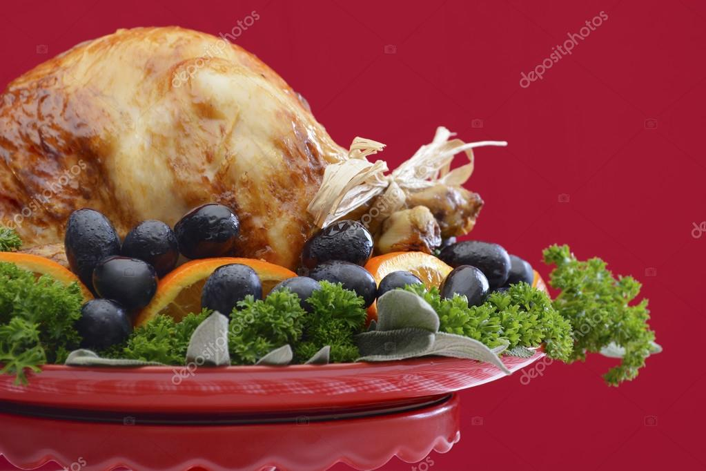 Festive Red Theme Thanksgiving Christmas Turkey Platter Stock Photo