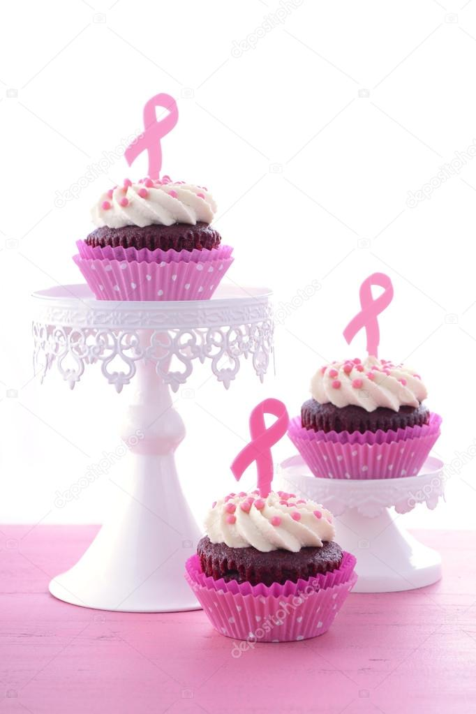 Pink Ribbon Charity for Womens Health Awareness Cupcakes.