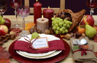 Country style rustic Thanksgiving table setting