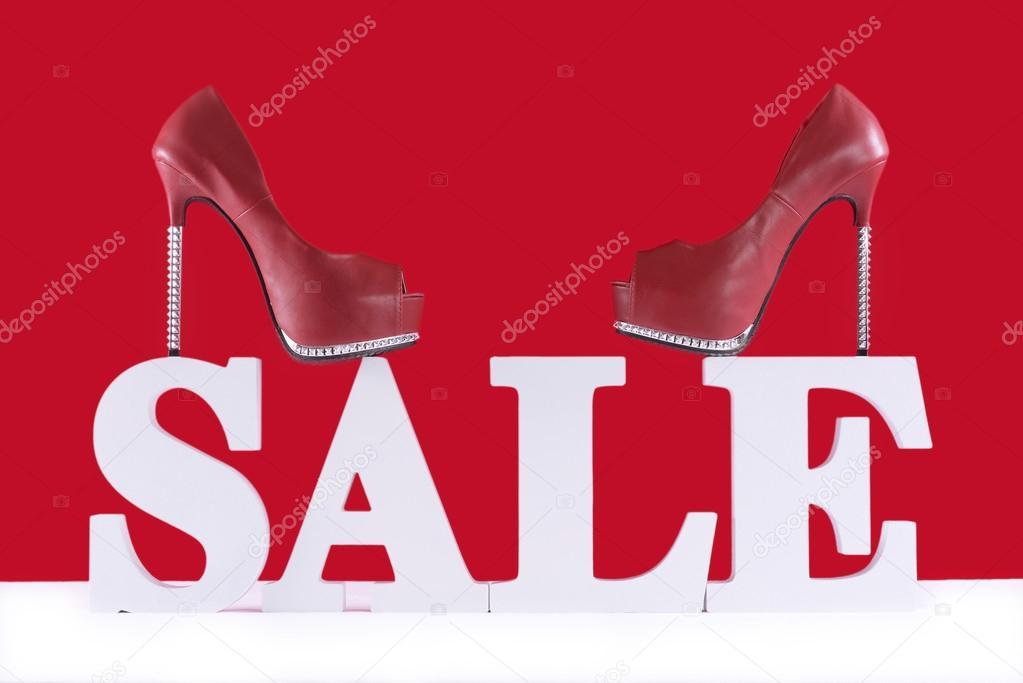 sales promotional letters with shoes stock photo amarosy 88457674