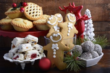 Traditional Christmas sweets and party food.