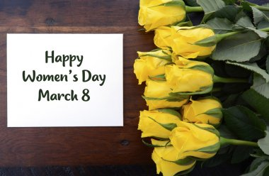 International Womens Day yellow roses gift.