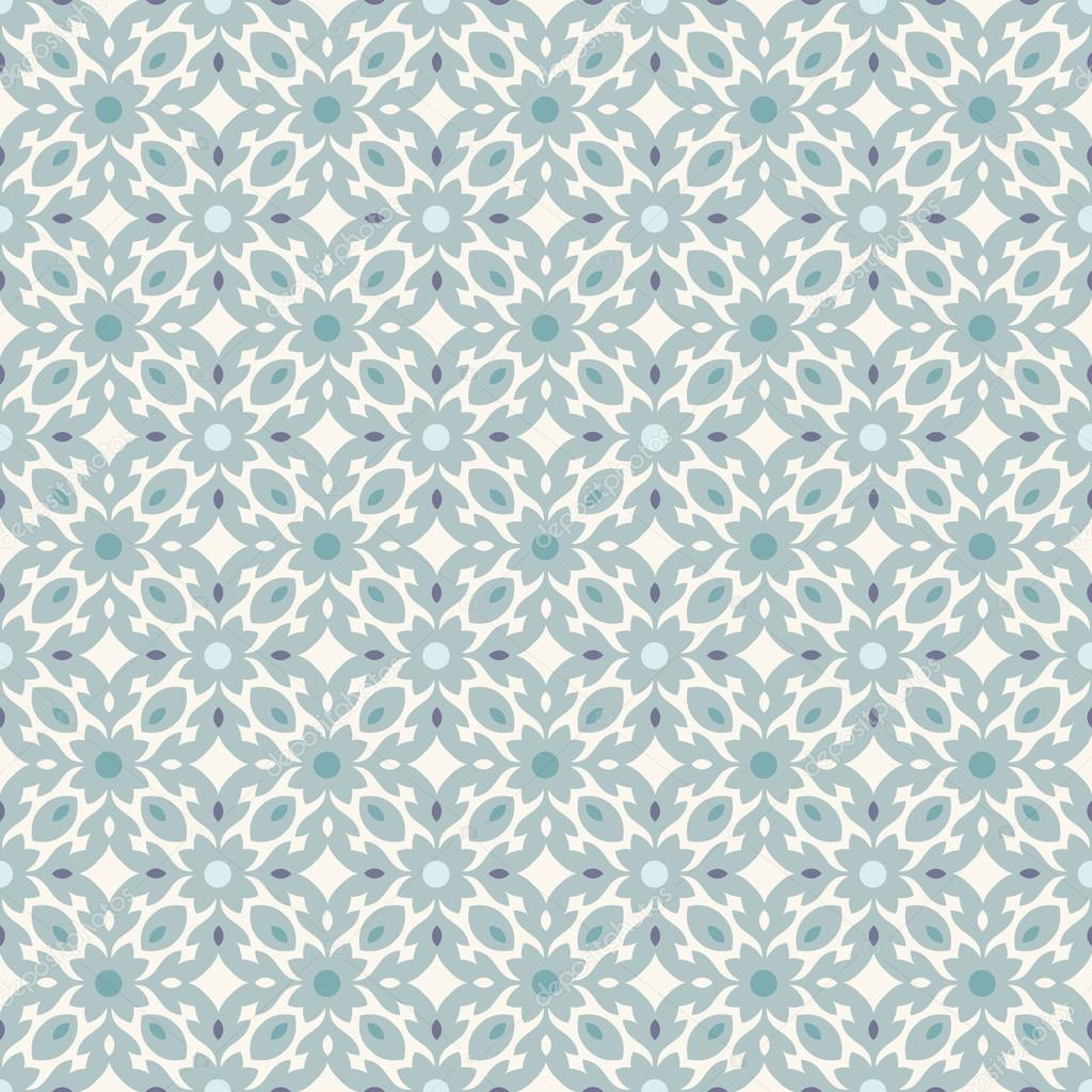 Retro Floor Tiles patern with small flowers and leaves in teal ...