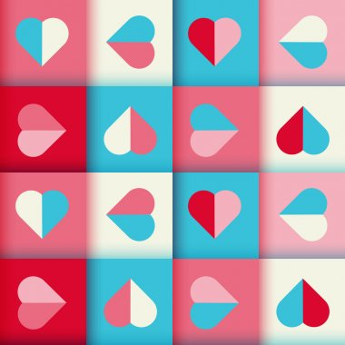Abstract geometric pattern with hearts, seamless vector background in blue and red  colors. clip art vector