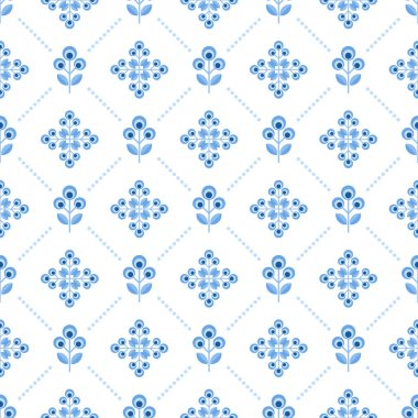 Seamless floral pattern with abstract flowers