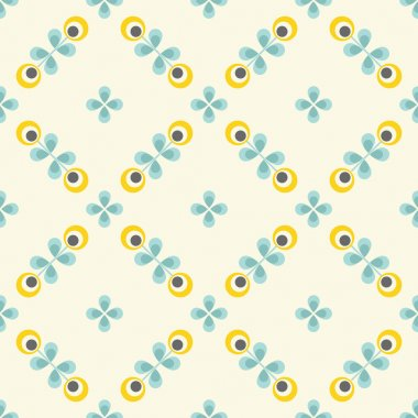 Seamless floral pattern, geometric flowers