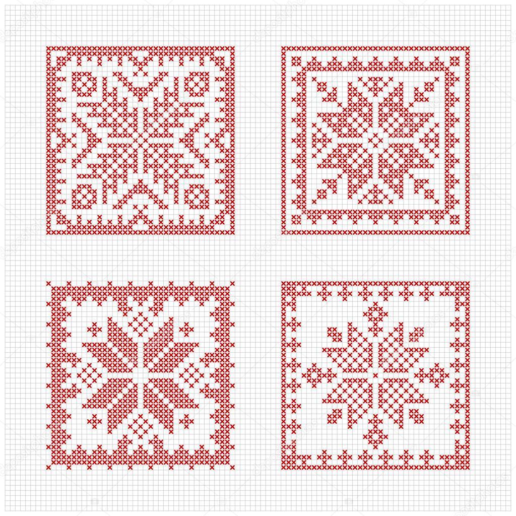 Scandinavian style cross stitch pattern — Stock Vector © Slanapotam ...
