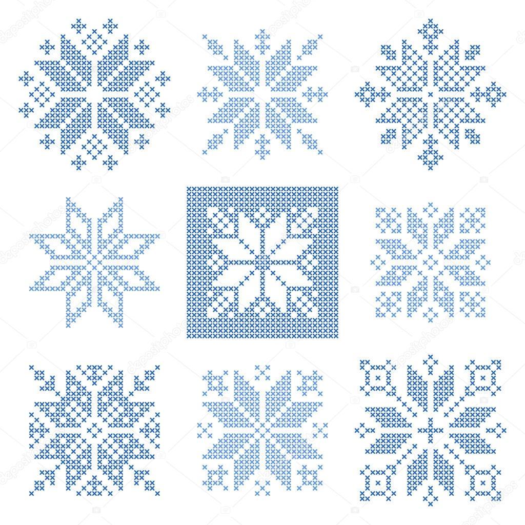 Punto de cruz los copos de nieve patrón, escandinavo — Archivo ...