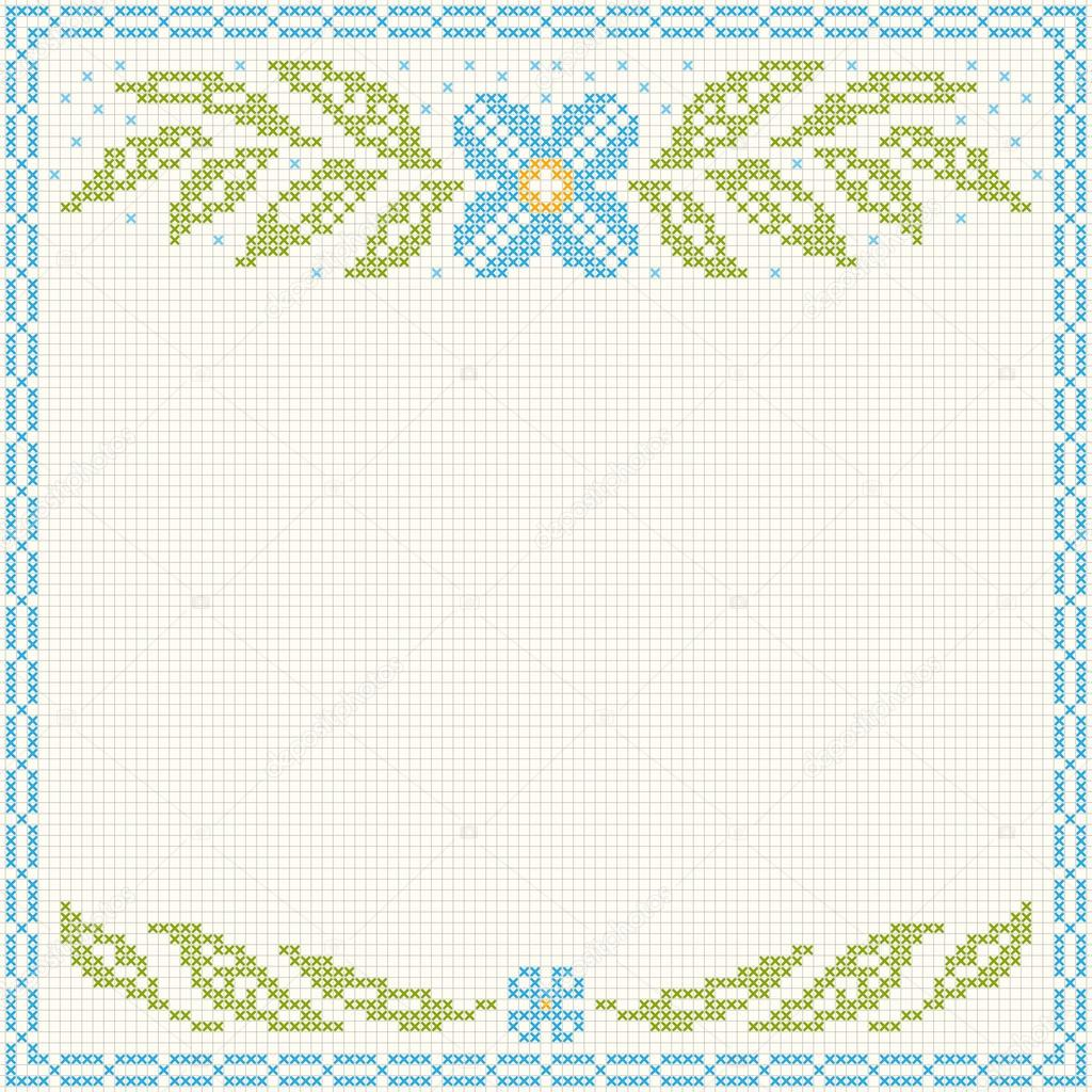 Bordado punto cruz - flores y hojas — Archivo Imágenes Vectoriales ...