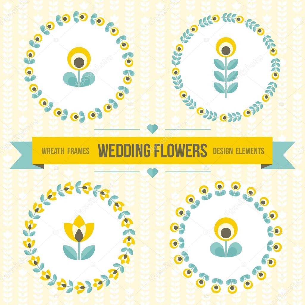 Hochzeit-design-Elemente - Frames und Blumen — Stockvektor ...