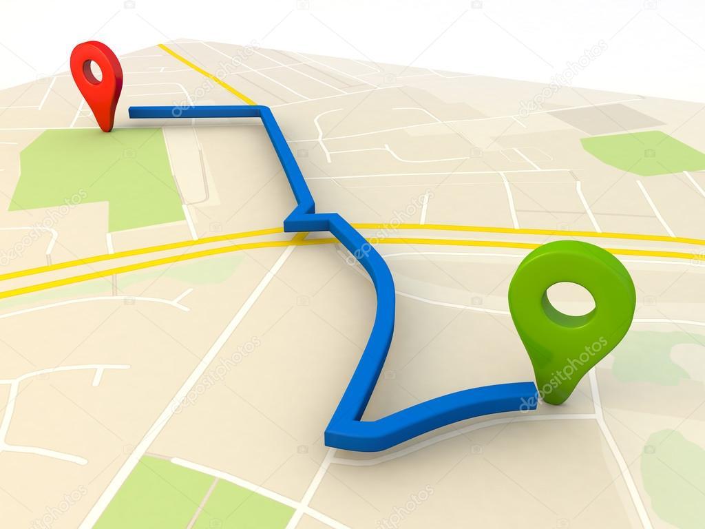 Mapa Plano Con Pin Icono De Puntero De La: Mapa De La Ciudad Con Punteros Pin