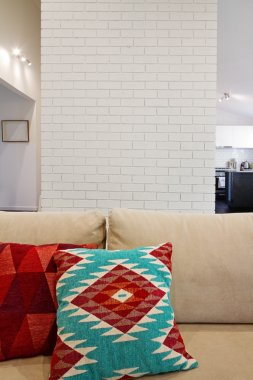 Interior architectural brick feature wall with space for text