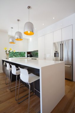 Modern Australian kitchen renovation with waterfall island bench