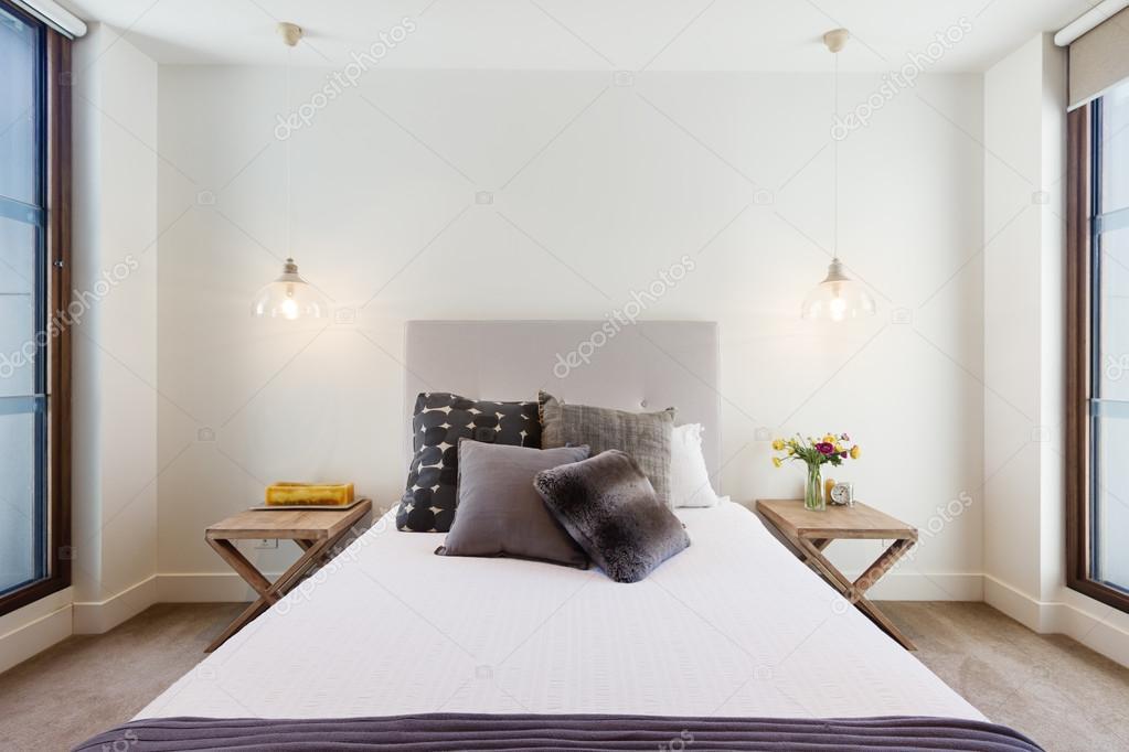 Beautiful hamptons style bedroom decor in luxury home interior ...