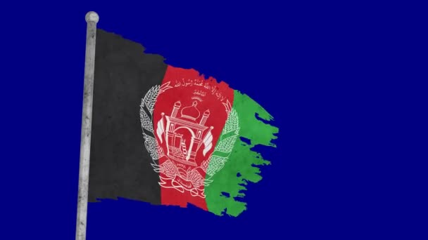 3d flag of Afghanistan sways on a blue background