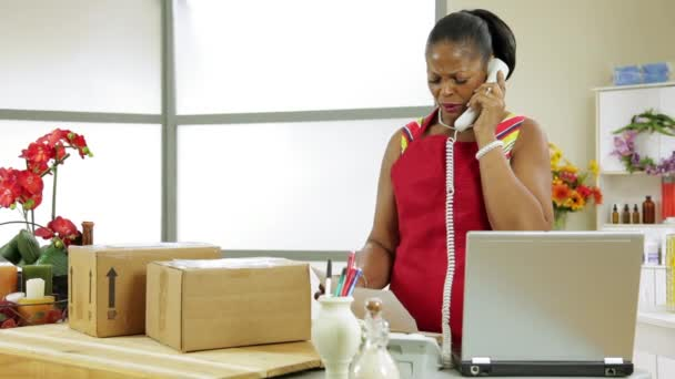 majitel malé firmy Dolly žena dostává špatné zprávy na telefonu