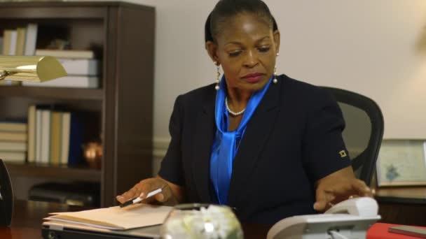 majitel firmy žena ceo pracovat u svého stolu odpovědi telefon
