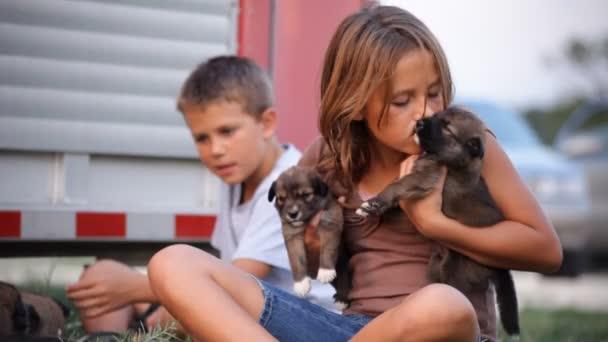 ein junges Mädchen liebt zwei süße kleine Welpen, die sie hält