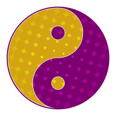 Yin Yang Symbol Purple Yellow