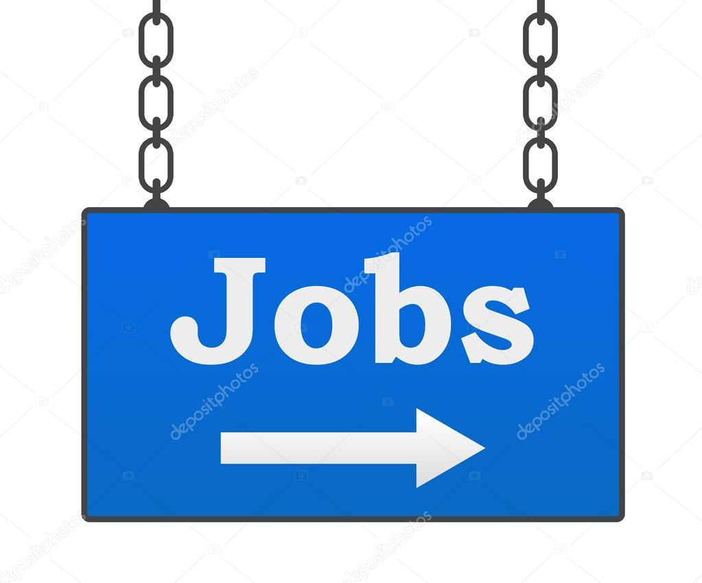 Jobs Blue Hanging Signboard