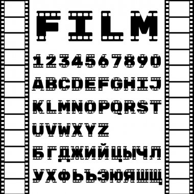 Latin and Cyrillic alphabet in film style. Film strip. Vector illustration.