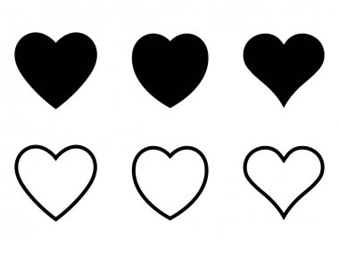 Black and outline heart icon, heart shape, love icon. icon