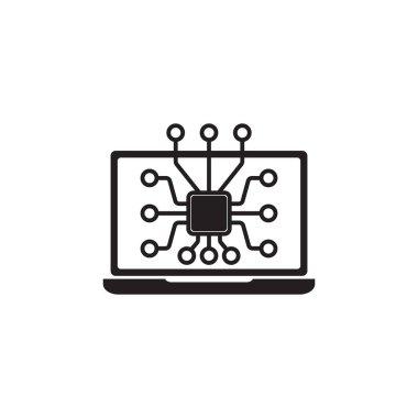 Laptop Chip icon on white background icon